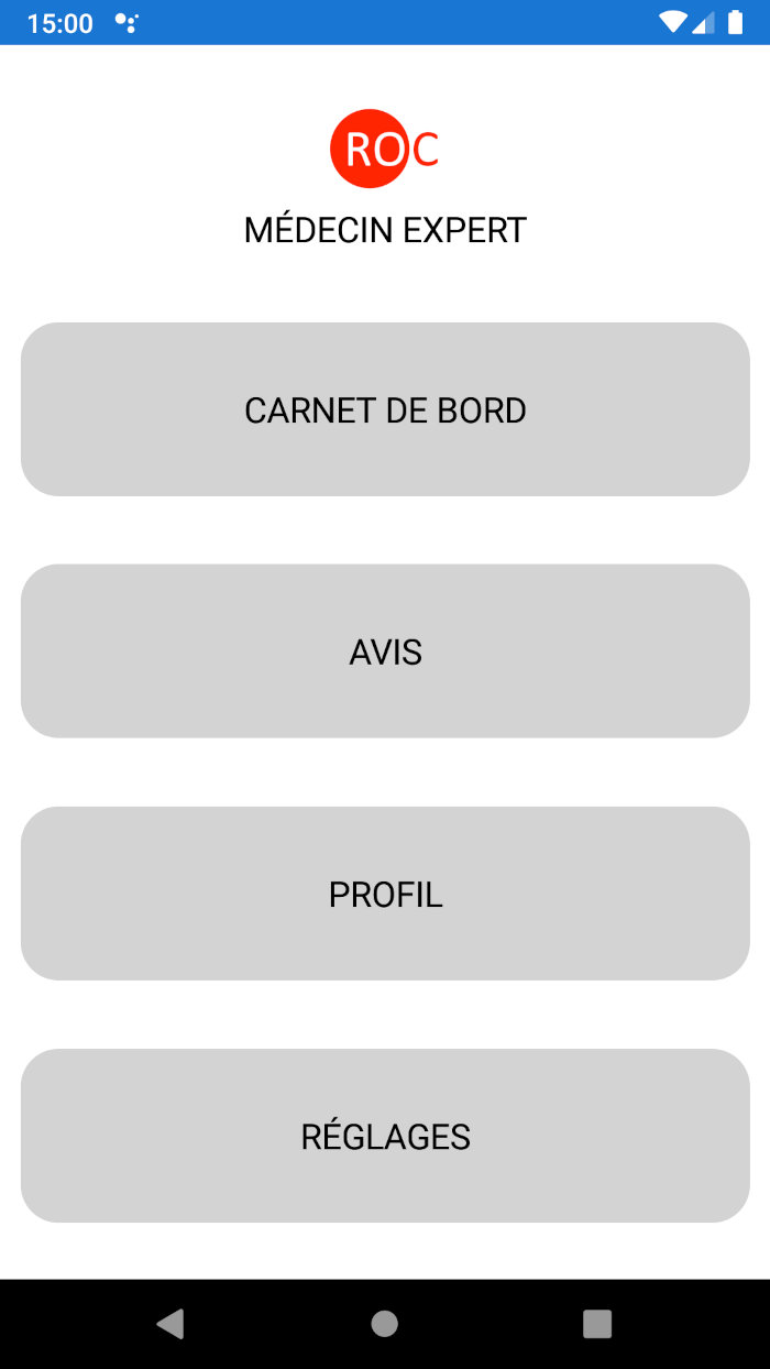 Application ROC - Menu principal